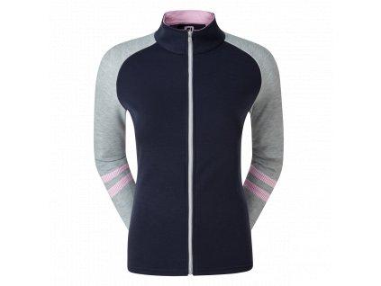 FOOTJOY Full-Zip Raglan Block Mid-Layer dámská mikina modro/šedo/růžová