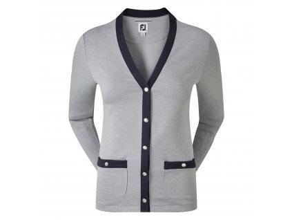 FOOTJOY dámský svetr Jersey Fleece Cardigan Snap Placket šedo/tm.modrá