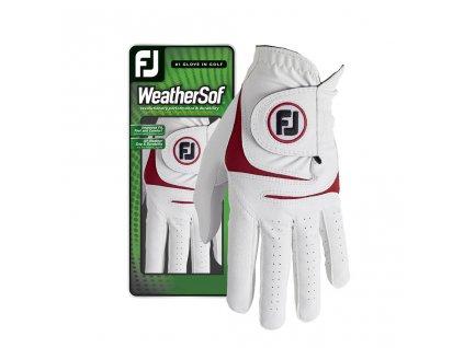 FOOTJOY WeatherSof pánská golfová rukavice na levou ruku bílo-červená