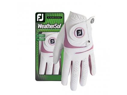 FOOTJOY WeatherSof dámská golfová rukavice na levou ruku bílo-růžová