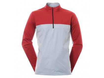 NIKE Shield Victory Half Zip pánská golfová bunda červeno-šedá zepředu