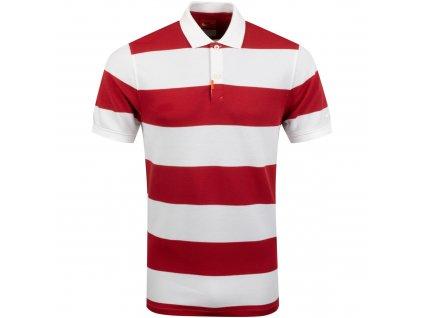 NIKE Stripe Slim pánské tričko červeno-bílé zepředu