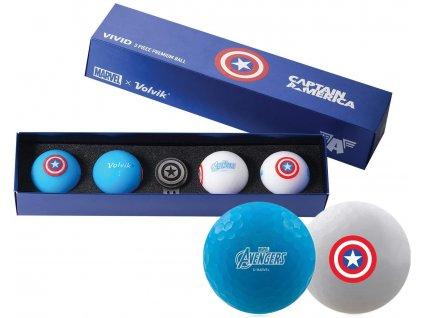 VOLVIK MARVEL dárkové balení míčků Captain America