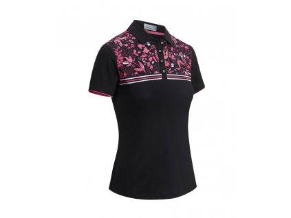 CALLAWAY Engineered Chest Floral Striped dámské tričko černo-růžové