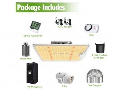 Nové SF1000 LED Grow Light Full Spectrum+70x70x160cm Grow Tent Kits Carbon Filter Indoor