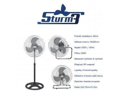 Cirkulační ventilátor STURM3, průměr 45cm, 3v1