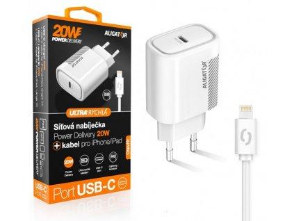 Chytrá síťová nabíječka ALIGATOR Power Delivery 20W, USB-C kabel pro iPhone/iPad