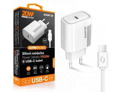 Chytrá síťová nabíječka ALIGATOR Power Delivery 20W, USB-C/USB-C kabel