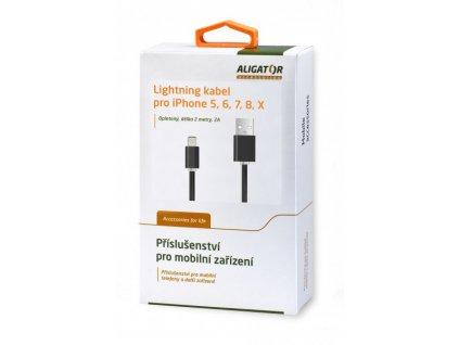 Datový a nabíjecí USB kabel ALIGATOR AA101, pro iPhone lightning, 2A,2M, černý
