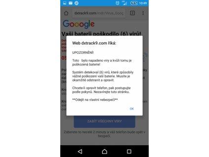 infikovaný mobilní telefon s Androidem