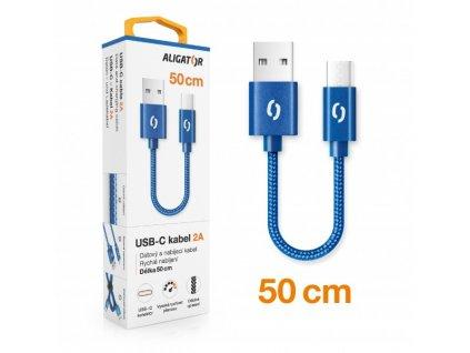 Datový kabel ALIGATOR PREMIUM 2A, USB-C 50cm modrý