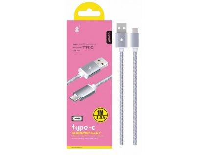 Datový a nabíjecí kabel PLUS, USB-C, (AU406), stříbrný