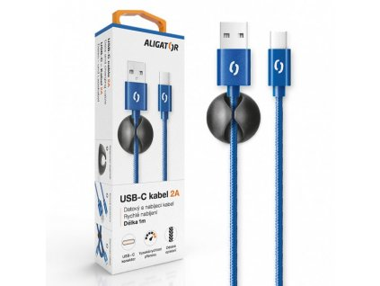 Datový kabel ALIGATOR PREMIUM 2A, USB-C modrý