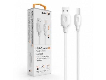 Datový kabel , USB-C, 2A, 1m, prodloužený konektor 9mm, bílý