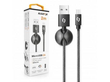 Datový kabel ALIGATOR PREMIUM 2A, Micro USB 2m černý
