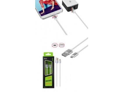 Datový a nabíjecí kabel PLUS, Micro USB, oboustranný, (K3371), bílý