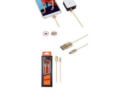 Datový a nabíjecí kabel PLUS, Micro USB, oboustranný, (K3371), zlatý