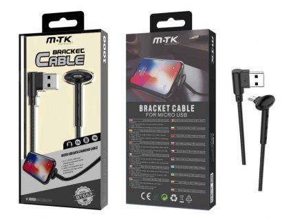 Datový kabel PLUS BT653 MicroUSB, stojánek, 2A, černý