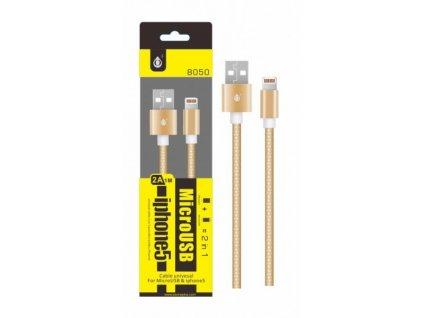 Datový a nabíjecí kabel PLUS 8050, MicroUSB + iPhone Lightning, zlatý