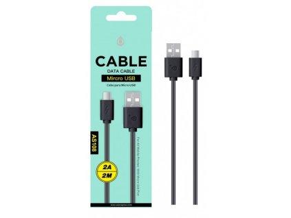 Datový a nabíjecí kabel PLUS, Micro USB 2A/2M, (AS108), černý
