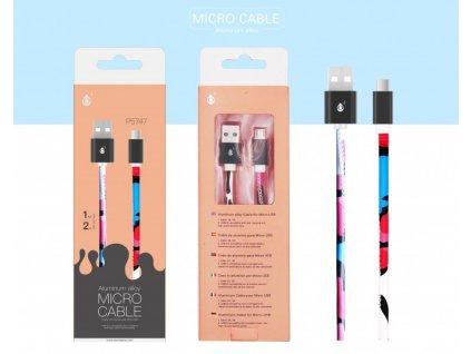 Datový kabel PLUS P5747 Micro USB ,2A, 1M, vzor růžový