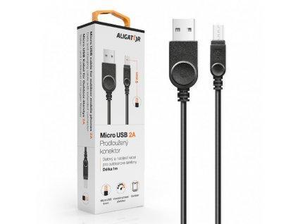 Datový kabel , micro USB, 2A, 1m, prodloužený konektor 9mm, černý