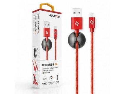 Datový kabel ALIGATOR PREMIUM 2A, Micro USB červený