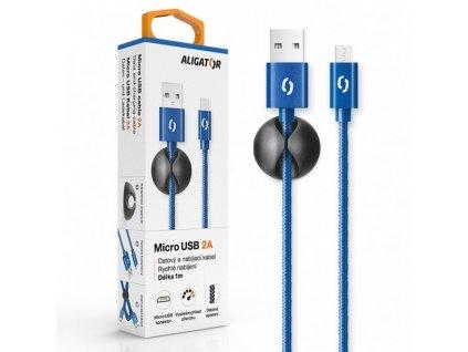 Datový kabel ALIGATOR PREMIUM 2A, Micro USB modrý