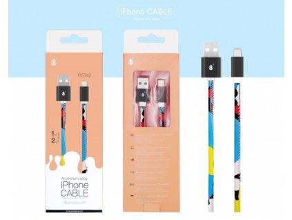 Datový a nabíjecí USB kabel PLUS, pro iPhone lightning, 2A,1M, (P5742),vzor růžový