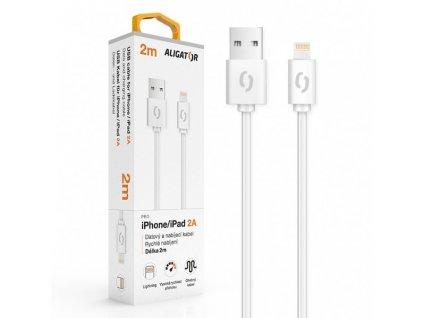 Datový a nabíjecí kabel ALIGATOR 2A pro iPhone, 2m, bílá