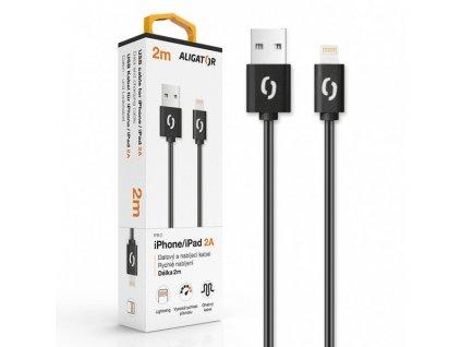 Datový kabel ALIGATOR 2A iPhone Lightning 2m, černý