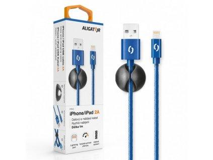 Datový kabel ALIGATOR PREMIUM 2A, Lightning modrý