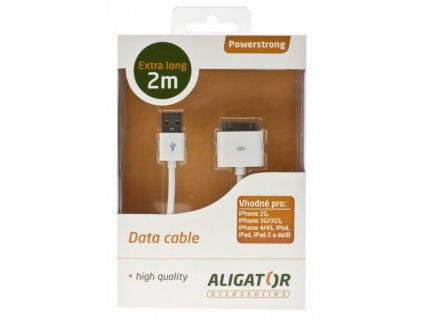 Datový kabel USB Powerstrong iPhone/iPod/iPad, extra dlouhý - 2m, bílý