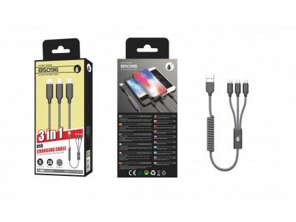 Nabíjecí kabel PLUS B5096 ,3v1, Micro,Type-C,iPh, spirála, 2A, černý
