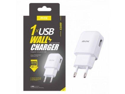 Nabíječka Quick Charge 2.0 PLUS s USB výstupem, 2.1A (K3499), bílá