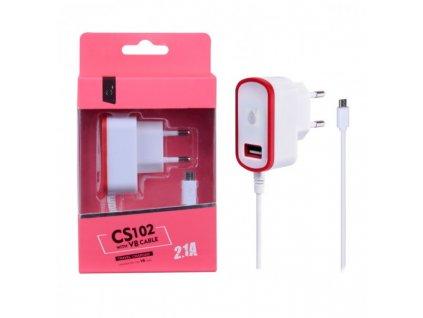 Nabíječka PLUS CS102, kabel MicroUSB + USB výstup 5V/2,1A - červená