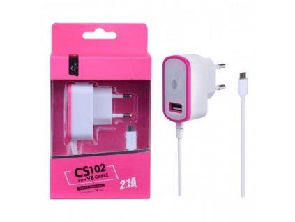 Nabíječka PLUS CS102, kabel MicroUSB + USB výstup 5V/2,1A - růžová