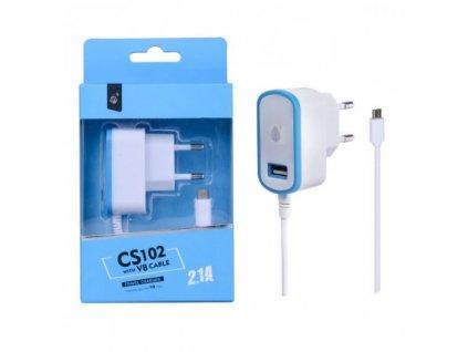 Nabíječka PLUS CS102, kabel MicroUSB + USB výstup 5V/2,1A - modrá