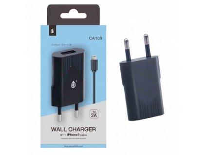 Nabíječka PLUS CA109, kabel pro iPhone7 s USB výstupem 5V/1A - černá