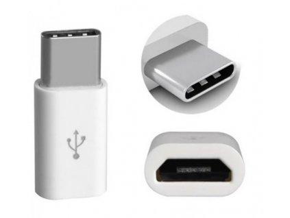 Adaptér type-c / microUSB (OTG) pro nabíječky a datové kabely, bílý