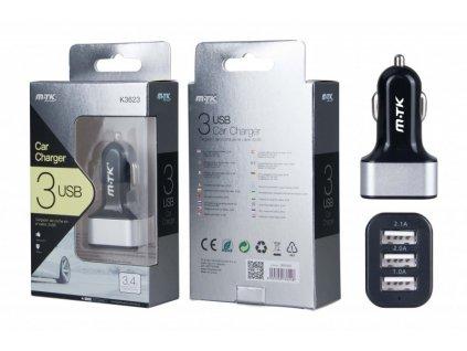 Nabíječka do auta PLUS K3623, 3xUSB výstup 3,4A - černá