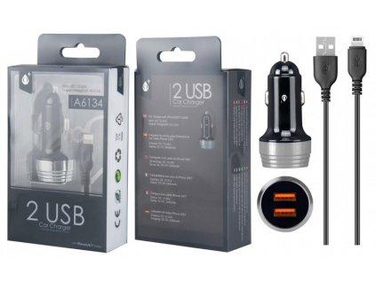 Nabíječka do auta PLUS A6134 s kabelem pro iPhone lightning, 2xUSB výstup 2.4A, stříbrná
