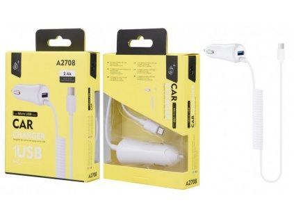 Nabíječka do auta PLUS A2708 s MicroUSB kabelem a 1x USB výstupem 2,4A, bílá