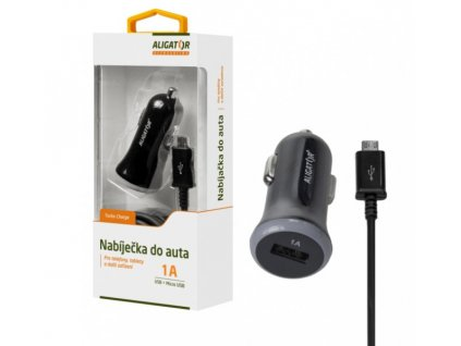 Nabíječka do auta ALIGATOR s microUSB kabelem a USB výstupem, 1A, černá