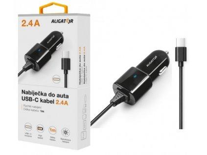Nabíječka do auta ALIGATOR USB-C, 2.4A, Turbo charge, černá