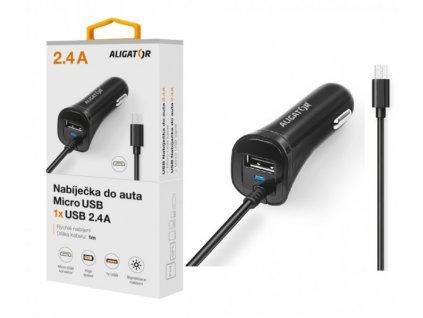 Nabíječka do auta ALIGATOR microUSB s USB výstupem, 2.4A, Turbo charge, černá