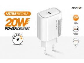 Chytrá síťová nabíječka ALIGATOR Power Delivery 20W, USB-C