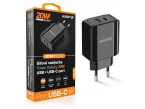 Chytrá síťová nabíječka ALIGATOR Power Delivery 20W, USB-C + USB-A