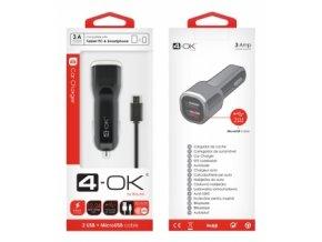 CL ADAPTÉR 4-OK 3A POWER NA 2X USB + DATOVÝ KABEL MICRO USB