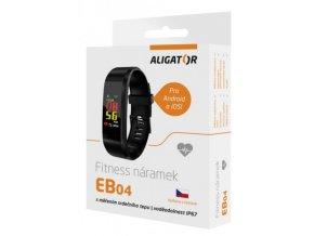 Fitness náramek EB04 černý, aplikace v češtině, IP67